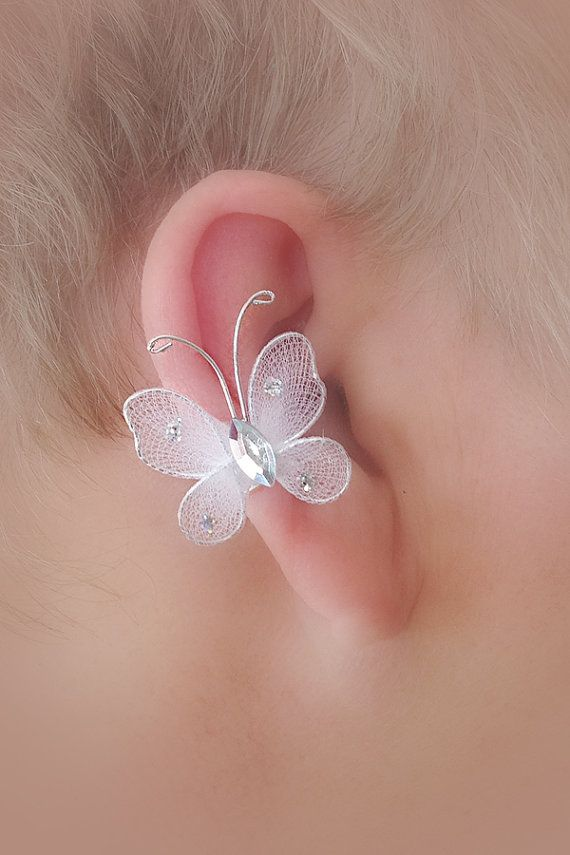 Bridal / Quinceaneara Ear Cuff Pair/ Butterfly by TheLazyLeopard, $12.00: Cuff Pair, Earrings Styles, Pendientes Earcuffs, Accessories Earrings, Earrings Sup Cute, Earcuffs Novias, Ear Cuffs, Quinceaneara Ear, 12 00