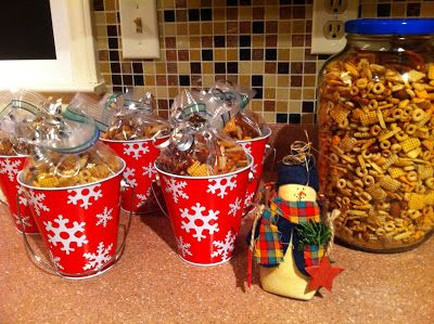 Texas Trash (chex mix) - cute in Christmas buckets