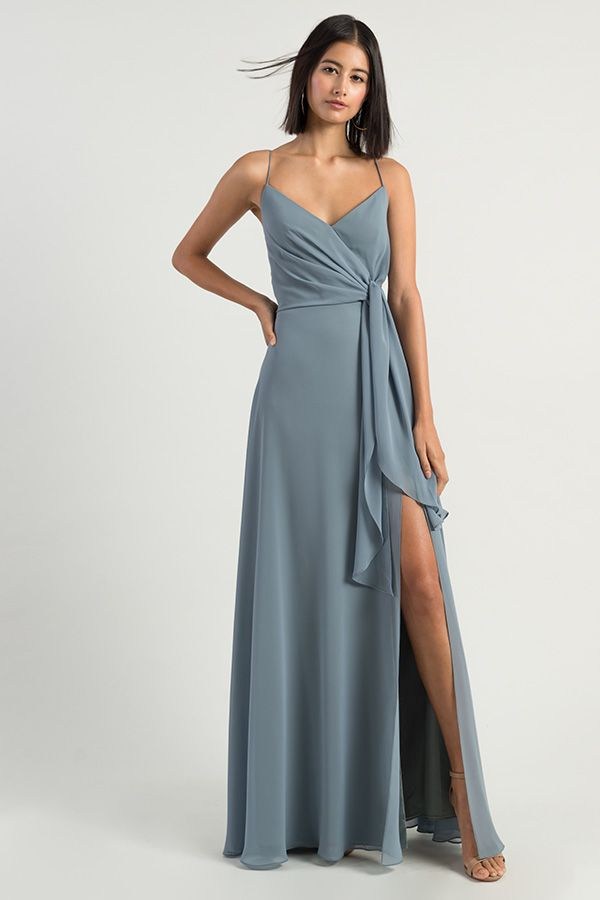4cbb8ed4e9e The Amara dress by Jenny Yoo 2019 has a sophisticated A line silhouette  with a chic spaghetti strap V neck in our flowy Luxe Chiffon.