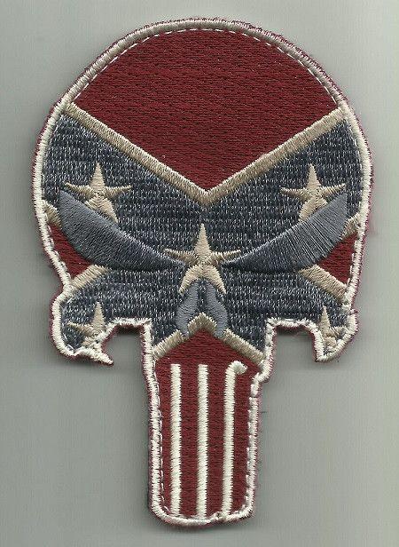 PUNISHER SKULL VELCRO MORALE PATCH - REBEL FLAG