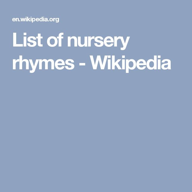 List of nursery rhymes - Wikipedia