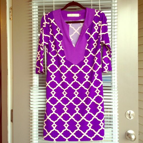 Purple and Gold Shift Dress - LSU, JMU, ECU Game XS purple and gold shift dress. Very flowy and great for football games or graduation. Has a pocket on the side. Tracy Negoshian Dresses Mini