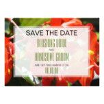 Colorful Red Begonia Save the Date Card