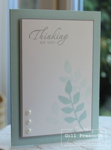 cardstock: soft sky, smoky slate, whisper white; stamp sets: secret garden, sincere salutations (retired); inks: soft sky, smoky slate; accessories: adhesive pearls, stampin' dimensionals.