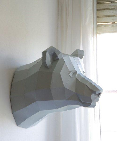 Papercraft template bear brown bear trophy faux by PaperwolfsShop