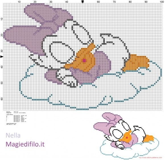 Baby Daisy Duck  sleeping on cloud