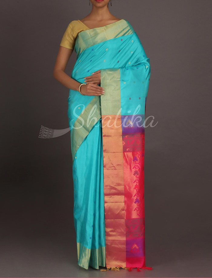 Lalitha Awesome Blue And Pink With Gold Border #WeddingSilkSaree