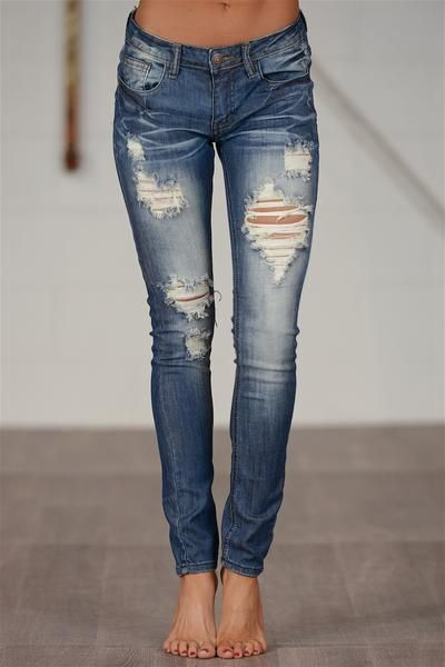MACHINE Distressed Skinny Jeans - Jennifer Wash