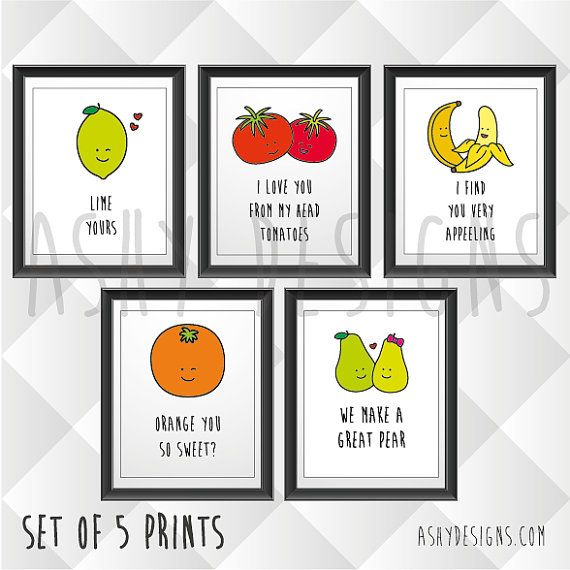 SET OF 5 - Fruit & Veggie Quotes - Funny Puns for Boyfriend Husband Gift Idea - Birthday Anniversary Valentine's - 8x10in 200x225mm - FVS05 CHOOSE ANY FIVE 8x10 INCH (20x25 CM) PRINTS: AVOCADO - LET'S AVOCUDDLE BANANA - I FIND YOU VERY APPEELING BEAN - IVE BEAN THINKING OF YOU BERRY - I LOVE YOU BERRY MUCH CHERRY - YOU ARE CHERRY SWEET BEETROOT - YOU MAKE MY HEART BEET TOMATOES - I LOVE YOU FROM MY HEAD TOMATOES KALE - KALE ME MAYBE LIME - LIME YOURS OLIVE - OLIVE YOU SO MUCH IT HURTS MELON - YOURE ONE IN A MELON ORANGE - ORANGE YOU SO SWEET? PEAR - WE MAKE A GREAT PEAR HONEYDEW - HONEYDEW YOU WANT TO GET MARRIED? These cute a...