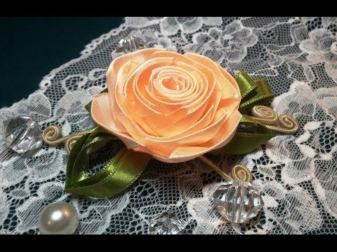 DIY Ribbon flower with beads/ grosgrain flowers with beads tutorial - YouTube