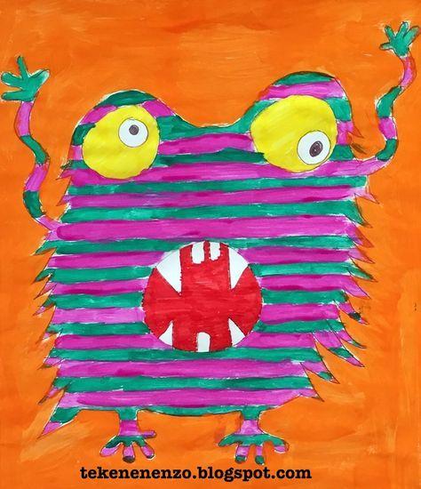 Benodigdheden:    tekenpapier op A3 formaat  viltstiften  kleurpotloden  plakkaatverf    Monsters, maar dan de gezellige types ...   Teke...