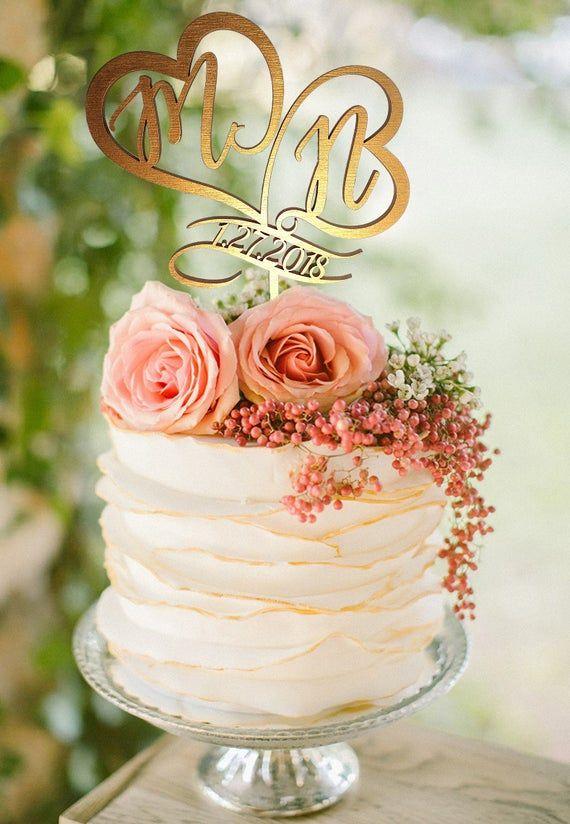 Custom Personalized Wedding Cake Topper Customized Wedding Etsy In 2020 Monogram Cake Toppers Wedding Cake Toppers Initials Monogram Wedding Cake
