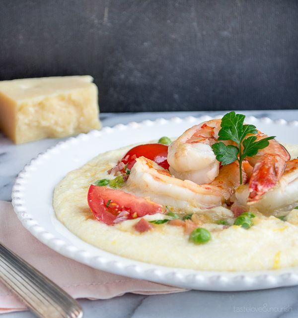 Shrimp with Pancetta and Peas Over Soft Polenta | Taste Love & Nourish