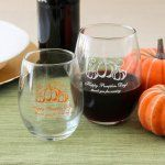 These personalized stemless wine glasses make the perfect party accessory for the contemporary wine connoisseur.