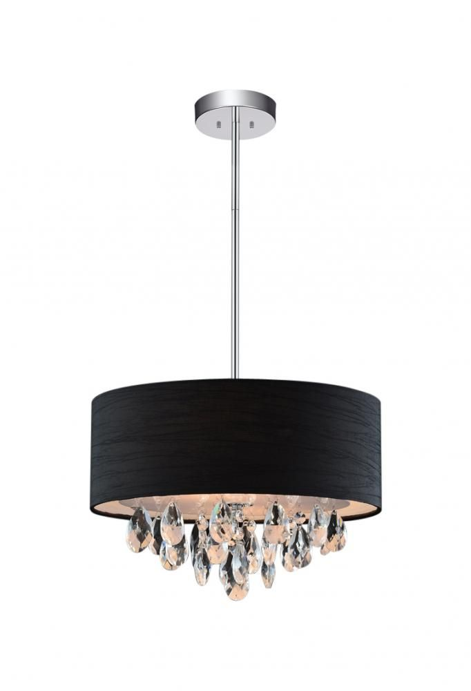3 Light Chrome Drum Shade Chandelier from our Dash collection (5443P14C (Black))