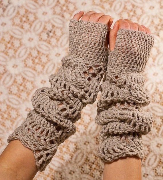 CROCHET PATTERN - Sand Light Gloves - long lace dusty beige hand warmers PDF-great for those cold bldgs so many work  at.