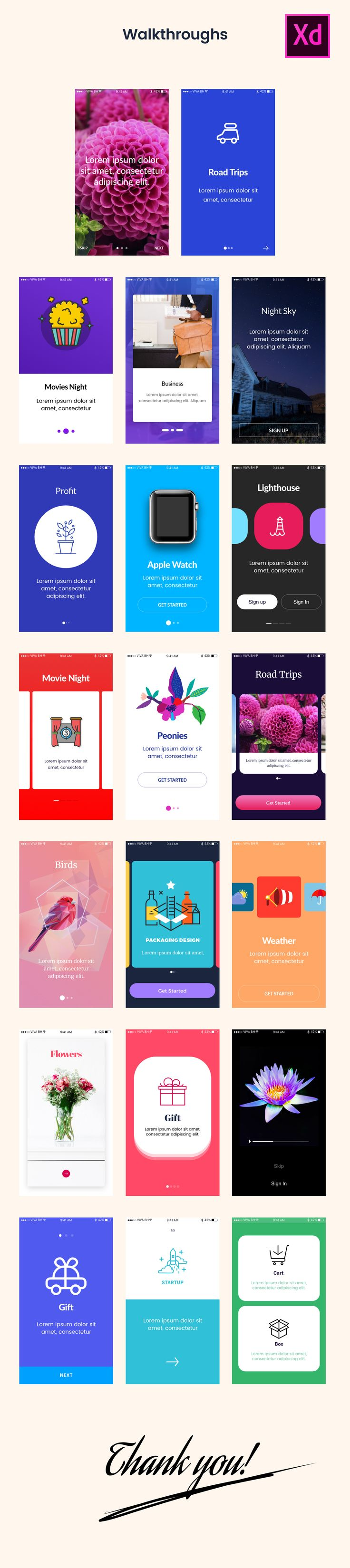"""Check out this @Behance project: """"Adobe Xd - 20 Screens Walkthrough"""" https://www.behance.net/gallery/48122659/Adobe-Xd-20-Screens-Walkthrough"""