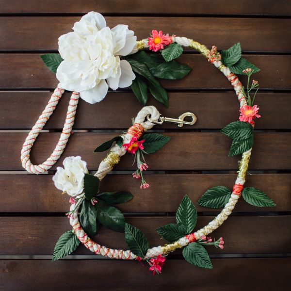 I've been trying to figure out how our dog Jubilee would look fabulous as our ring bearer in our wedding, and I finally came across a bridal dog leash by Free People. I was inspired by Free People's styled shoot, and thankfully they provided a tutorial. And last night I made a bridal leash like it! …