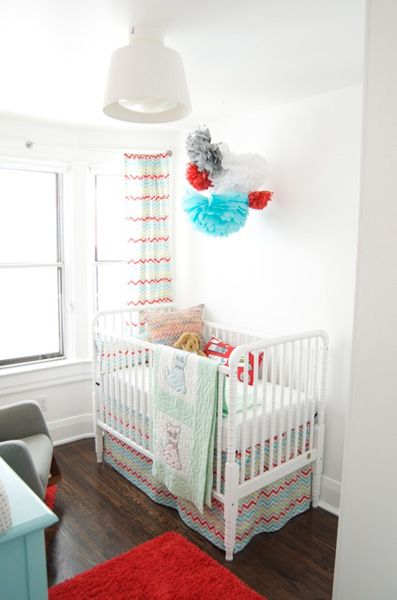 Baby boy girl nursery decorating ideas chevron fabric for Boy nursery fabric