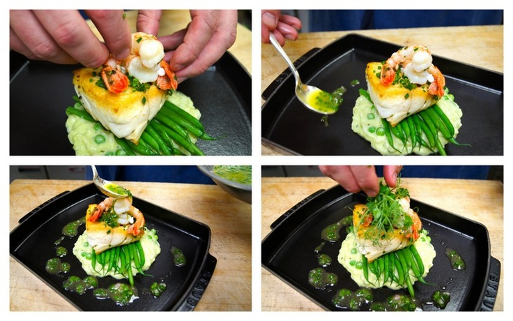 Add spot prawn, and ladle Lemon Chive Vinaigrette around the plate and on top of the fish. Garnish with fresh pea shoots.