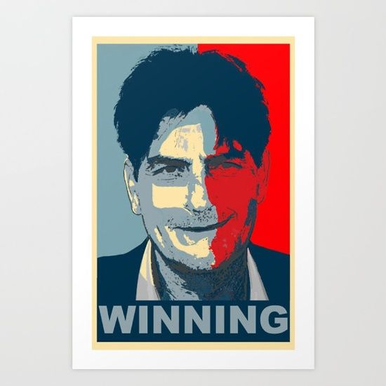 Collect your choice of gallery quality Giclée, or fine art prints custom trimmed by hand in a variety of sizes with a white border for framing.https://society6.com/product/charlie-sheen-obama-winning-tee-obey-tshirt_print?curator=kissart