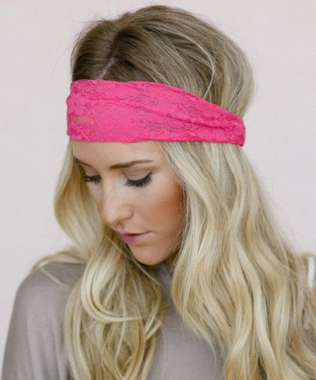 A Pristine Beach Warm Tropical Breezes And The Love Of: Bright Pink Gathered Lace Headband
