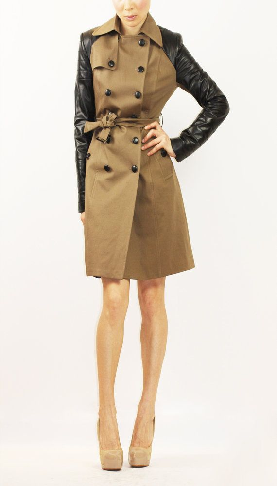 Brown trench coat with black leather sleeves