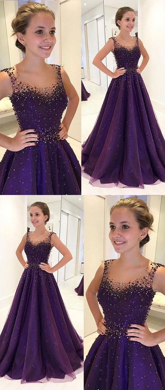 PURPLE ROUND NECK TULLE BEADS LONG PROM DRESS, PURPLE EVENING DRESS #purplepromdresses #AlinePromDresses #satinpromdresses #promdress #longpromdress #eveningdress #promdresses #partydresses #2018promdresses #ballgown #Prettylady