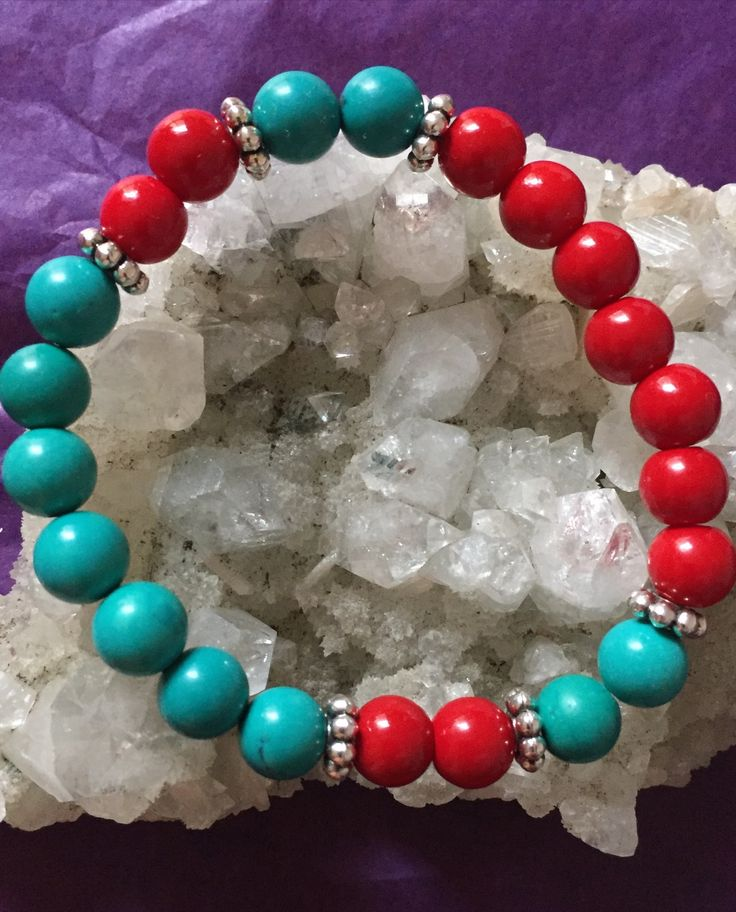turquoise & red coral crystal bracelet