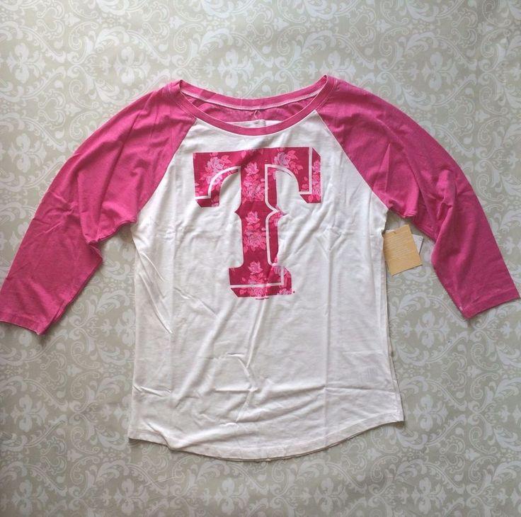 MLB Rangers Texas Ladies Floral Scoop Neck Raglan Shirt Large White/Pink NWT  | eBay
