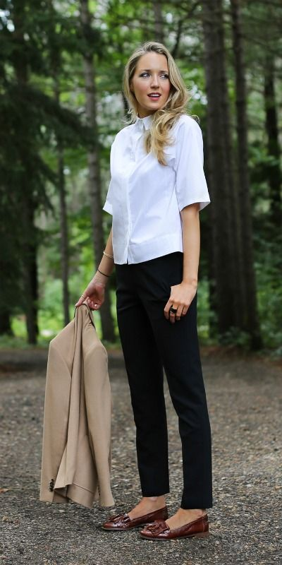 white button front cropped blouse, black theory ankle pants, brown leather tassel loafers + camel hair blazer