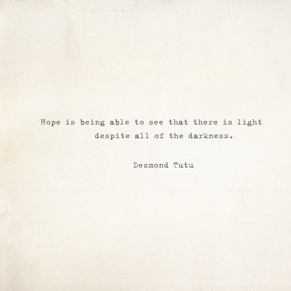 Hope quote by Desmond Tutu voa Besotted Blog