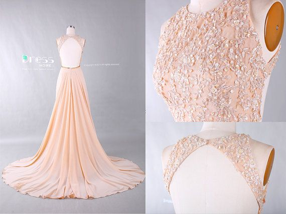 Sweet 16 Champagne Round Neck Beading Belt Lace Long by DressHome