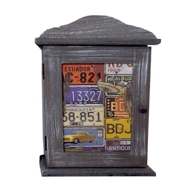Dřevěná závěsná skříňka na klíče - města, značky