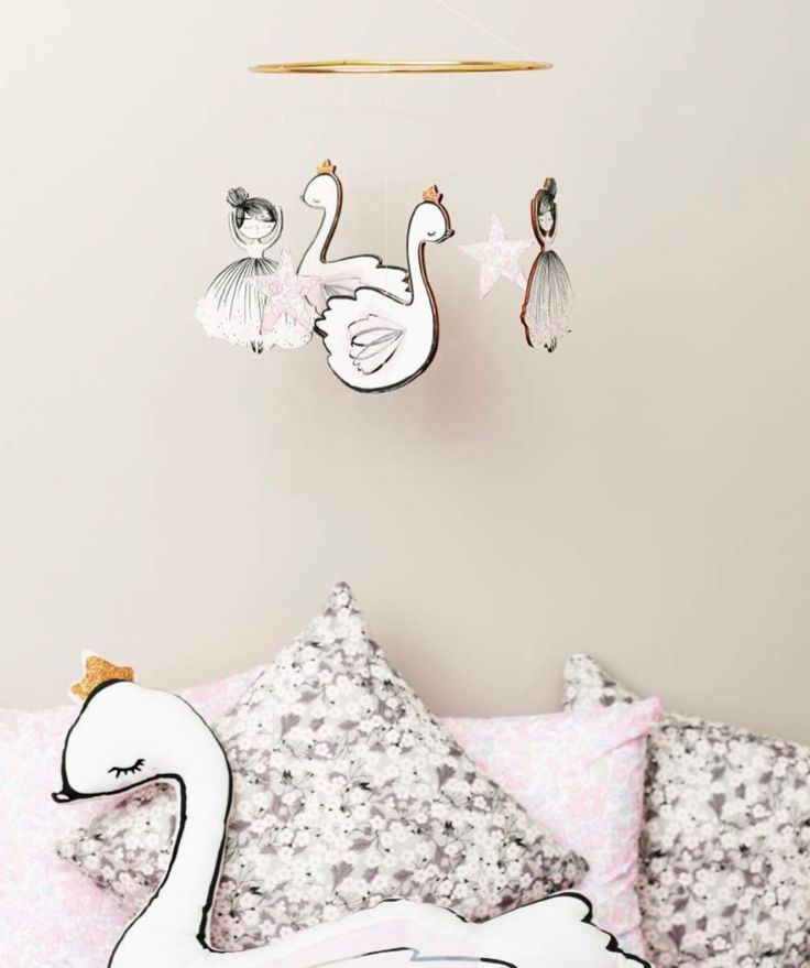 Cute girls nursery swan mobile from Little Cloud