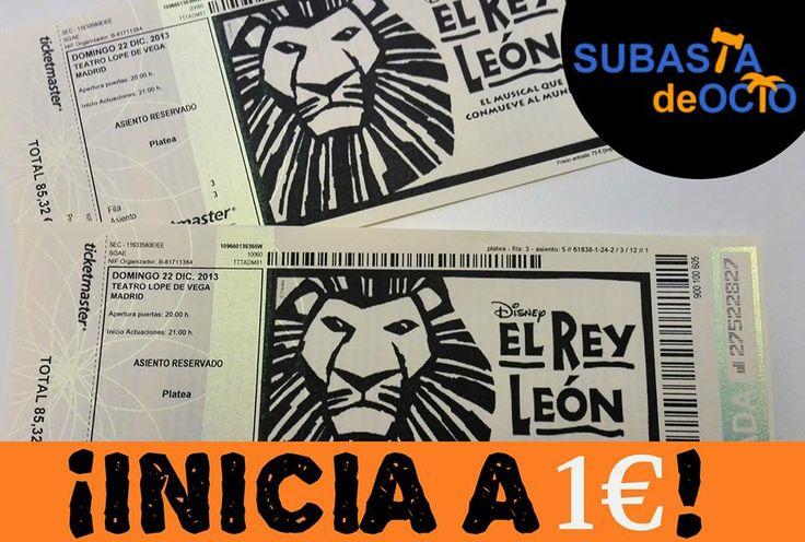 ¿Quién se llevará estas dos ENTRADAS para el musical de El Rey León? Puja en http://www.subastadeocio.es/subasta/entradas/entradas-musical-rey-leon-en-madrid-1456 ★ ¡Todas nuestras entradas INICIAN a 1€!★  ¡Que ruja #Madrid estas Navidades!