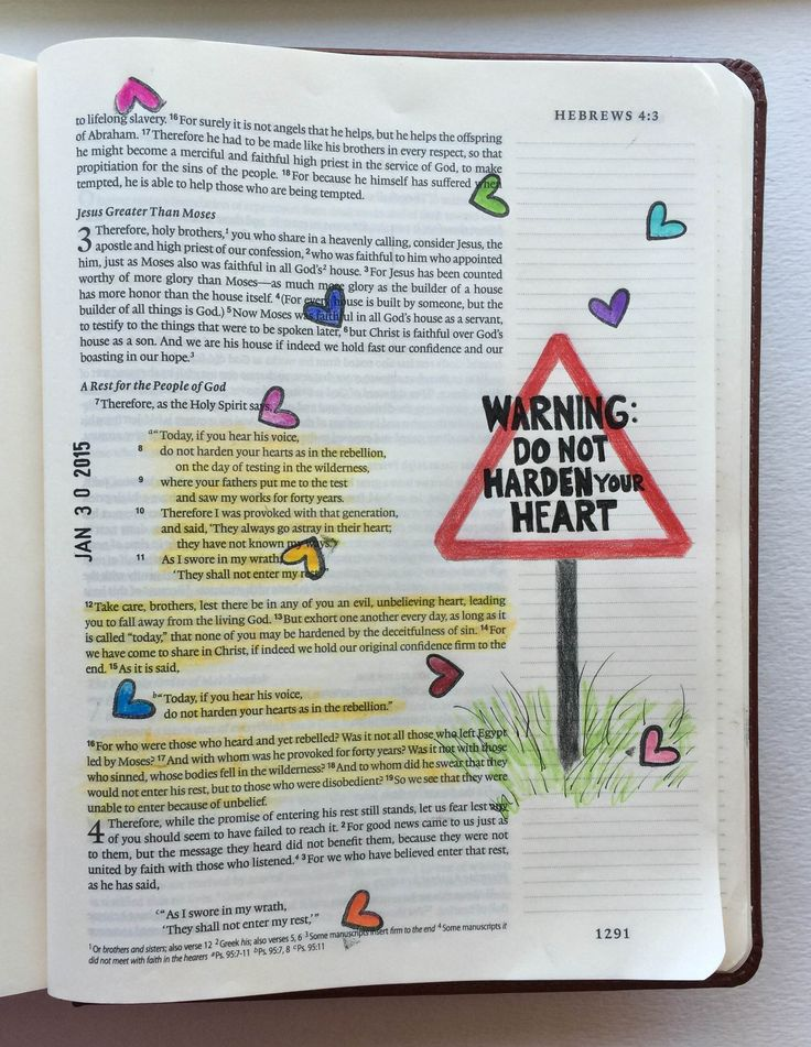 "Bible art journaling - by Linda Neal - ""If today you hear His voice, harden not your heart"" (Heb. 3:8-9). #illustratedfaith"