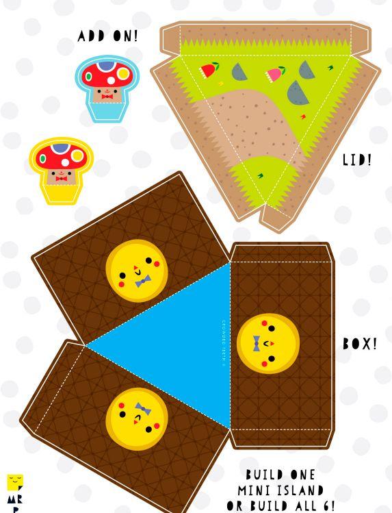 Шаблон №5 для объемной поделки из бумаги и картона -остров