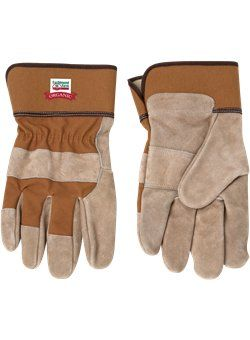 #22304 - #WG10 - Tan Cow Split Safety Gloves. For details on how to order this item with your logo branded on it contact ww.fivetwentyfour.ca #promoitems #promoproducts