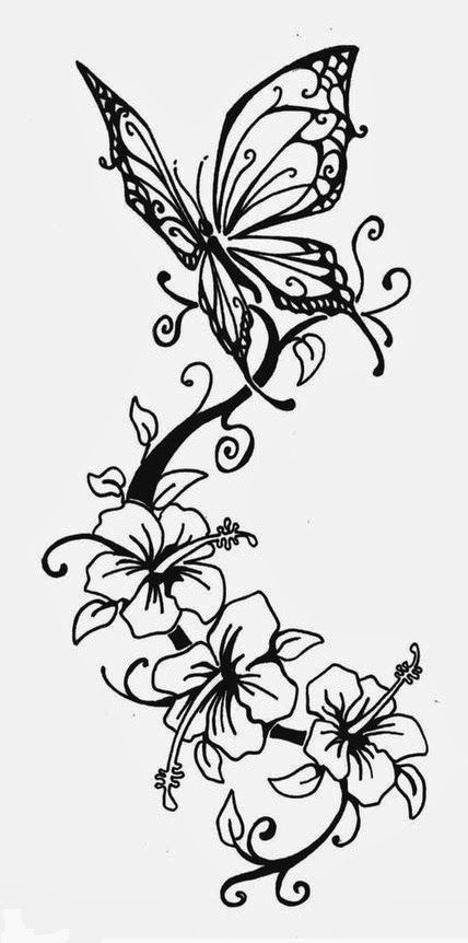 Butterfly Stencils Printable | Butterfly and lilies tattoo stencil 8 (click for full size)