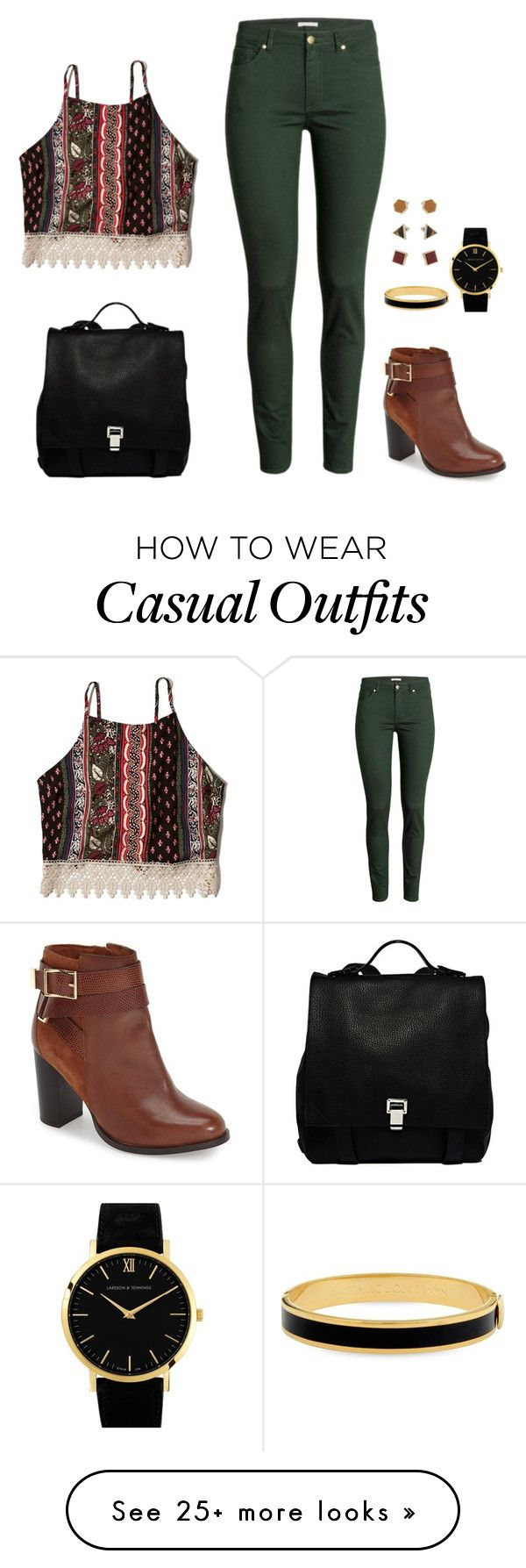 """Boho Casual"" by jessica-leone on Polyvore featuring H&M, Abercrombie & Fitch, Topshop, Proenza Schouler, Larsson & Jennings and Halcyon Days"