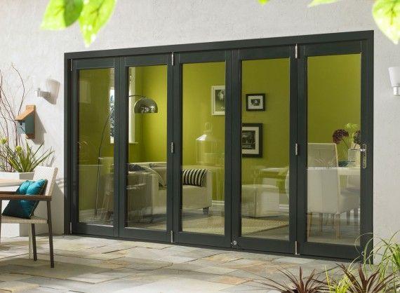 Ultra External Sliding Folding Doors 3.6M (12ft) double glazed in Grey Aluminium and Oak.
