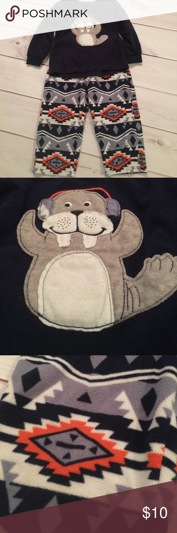 """Boys Fleece Pajamas 2 piece fleece pajamas  Worn a handful of times but in great condition  Walrus has some """"pricklies"""" on it but that's the only flaw Carter's Pajamas Pajama Sets"""
