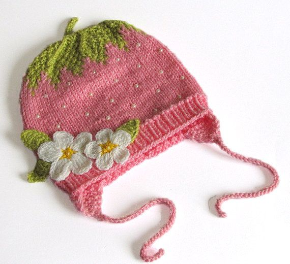 Pink Strawberry Baby girls hat / size 1819inch by MiaPiccina, $30.00