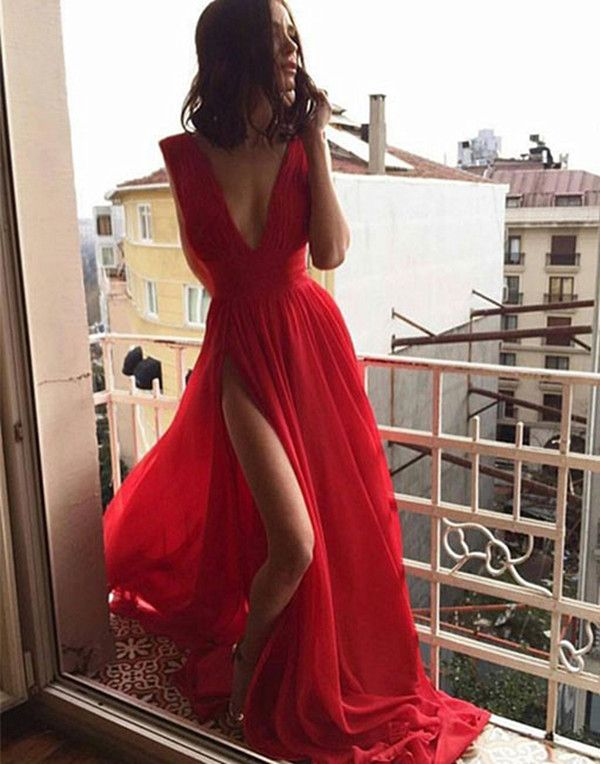 Sexy Red V Neck Long Chiffon Prom Dress,High Slit Evening Dress,Sleeveless Prom Dresses