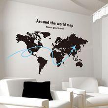 SHIJUEHEZI Personalizado Mapa Do Mundo Adesivo de Parede Avião Artesanal Material de PVC Decalques de Parede para Escritório Sala de estar Decoração de Casa(China (Mainland))