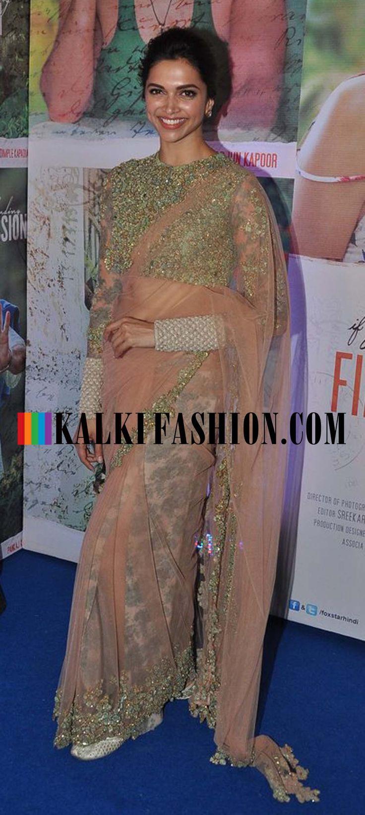 Deepika Padukone looks in gorgeous Sabyasachi saree attending Finding Fanny success bash. http://www.kalkifashion.com/
