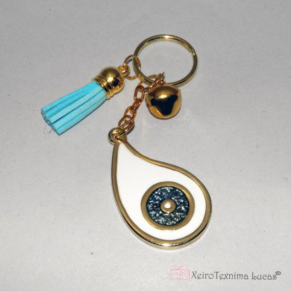 White Eye Teardrop Metal Keychain Charm Gift Wrap. 2018 Favors - 2018 Charms. Greek charms