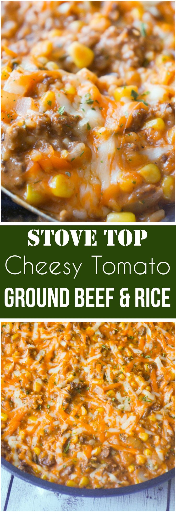 Cheesy Tomato Ground Beef and Rice is an easy stove top dinner recipe packed with flavour. This ground beef dish is made with cream of tomato soup, canned corn, instant rice and loaded with cheddar cheese.