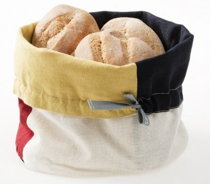 Happy Kitchen Bread Basket, linen/cotton